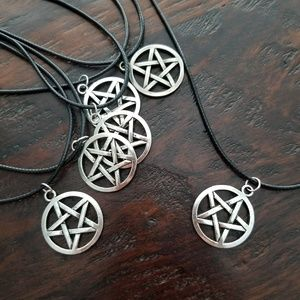 Wicca / Pagan Pentacle Necklace on Black Cord
